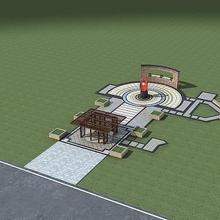 中庭景观小品整体模型