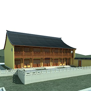 寺庙,斋房,古建3d模型