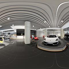 汽车销售展厅全景整体模型