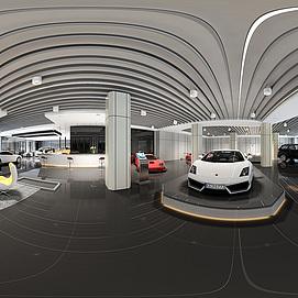 汽车销售展厅全景整体全景模型