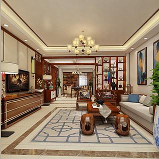 新中式家装客厅设计3d模型
