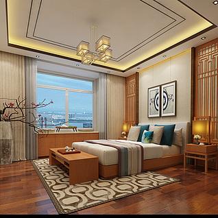 新中式卧室设计3d模型