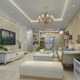 简欧式家装客厅装饰设计3d模型