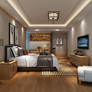 新中式主卧室3d模型