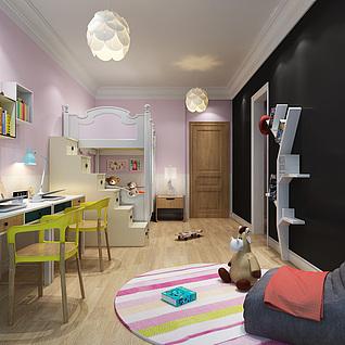 现代风格小孩房3d模型