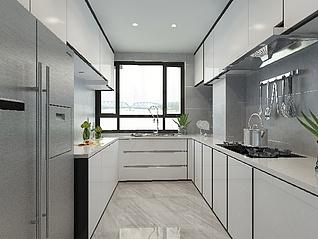 现代简约风格客厅厨房卧室3d模型