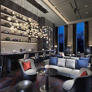 新中式私宅客餐厅整体模型图片