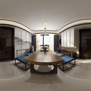 客餐厅全景3d模型