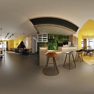 小清新餐厅全景3d模型