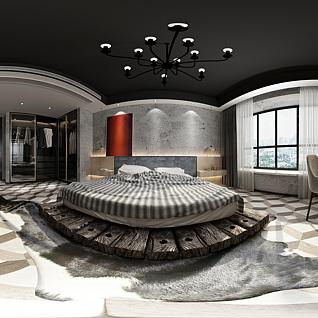 工业风卧室全景3d模型