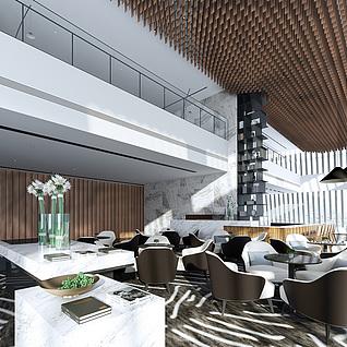 现代餐馆整体模型