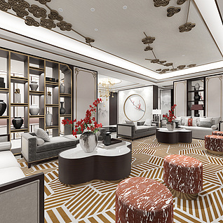 中式客餐厅3d模型