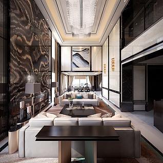 中式跃层客餐厅3d模型
