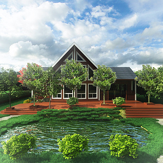 木平台水塘3d模型