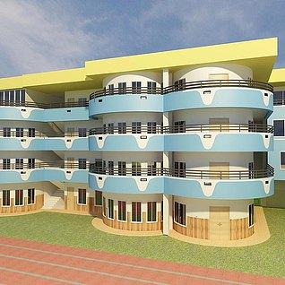 幼儿园大楼整体模型