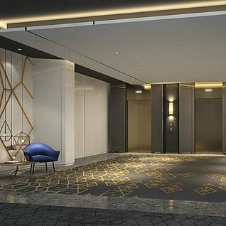 现代电梯间整体模型
