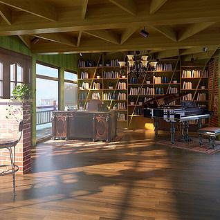 古朴图书馆模型整体模型