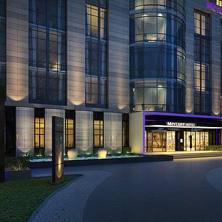 酒店门头模型整体模型
