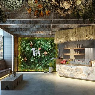 自然系餐厅整体模型