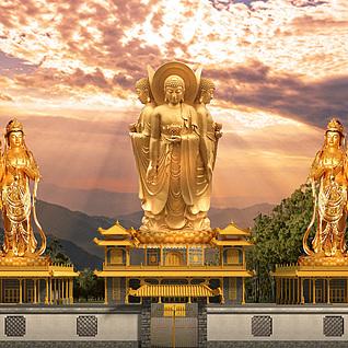 寺庙大佛整体模型