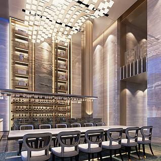现代酒吧整体模型