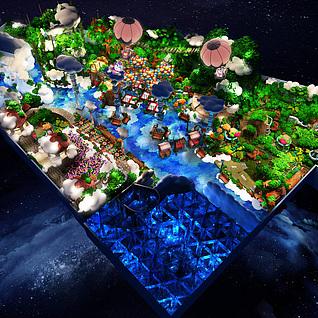 游乐区景观模型整体模型