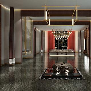 中式大厅整体模型
