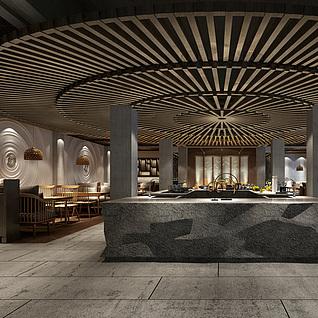 中式餐馆整体模型