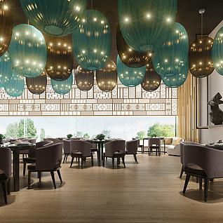 中式餐厅模型整体模型