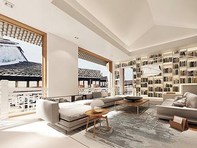中式客廳整體模型