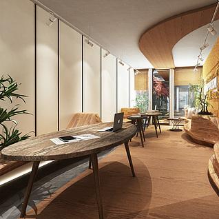 复古咖啡厅整体模型