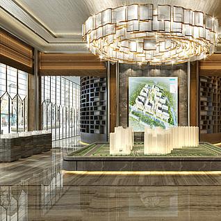 售楼处大厅整体模型