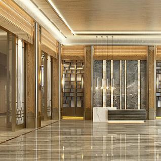 中式大厅前台整体模型