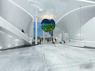 大厅前台模型3d模型