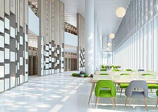 现代图书馆3d模型