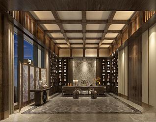中式书房模型3d模型