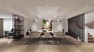 别墅餐厅模型3d模型