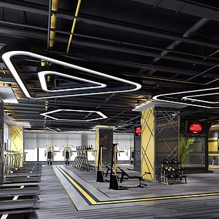 工业风健身房整体模型