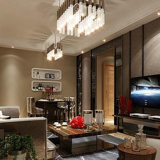 欧式客厅整体模型