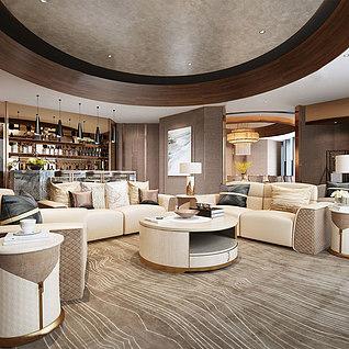酒店休息区整体模型