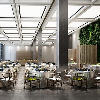 酒店大堂餐厅整体模型