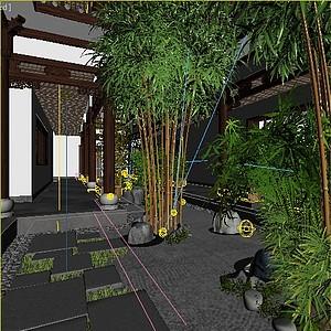 中式庭院<font class='myIsRed'>园林</font>景观3D模型整体模型