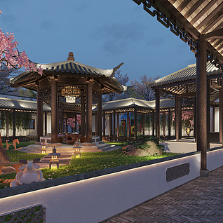 中式庭院园林景观3D模型整体模型