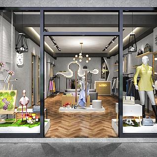 服装店,商业零售店店铺整体模型