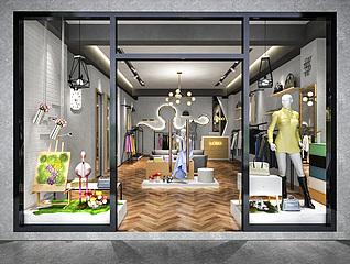 服装店,商业零售店店铺工装模型