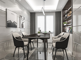 黑白灰餐厅3d模型