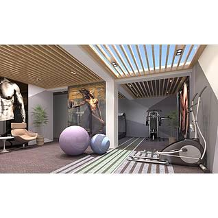 北欧风格健身房家装模型