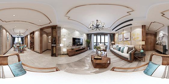 新中式客餐厅全景3d模型