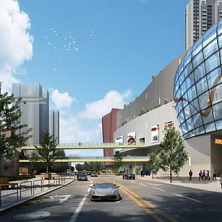 城市办公楼小区建筑鸟瞰3d整体模型