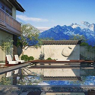 园艺小品庭院阳台假山植物整体模型